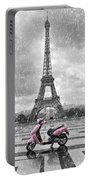 Eiffel Tower In The Rain With Pink Scooter Of Paris. Black And W Portable Battery Charger