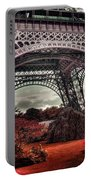 Eiffel Tower Surreal Photo Red Trees Paris France Portable Battery Charger