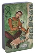 Eight Of Pentacles Illustrated Portable Battery Charger