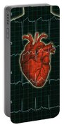 Ekg And Heart Over Torso Portable Battery Charger