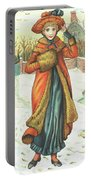 Elegant Lady In Snow, Christmas Card Portable Battery Charger