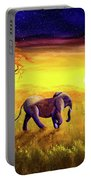 Elephant In Purple Twilight Portable Battery Charger