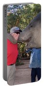 Elephant Kissing Man Holding Bananas Portable Battery Charger