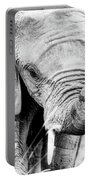 Elephant Portrait In Black And White Portable Battery Charger