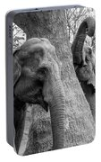 Elephant Tree Black And White  Portable Battery Charger