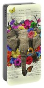 Elephant With Colorful Flowers Illustration Portable Battery Charger