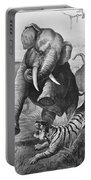 Elephants And Tiger, 1890 Portable Battery Charger
