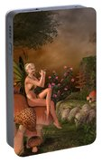 Elven Beautiful Woman With Flute Portable Battery Charger