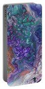 Emerald And Amethyst. Abstract Fluid Acrylic Painting Portable Battery Charger