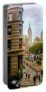Empire State Building - Crackled View Portable Battery Charger