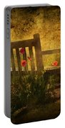 Empty Bench And Poppies Portable Battery Charger by Svetlana Sewell