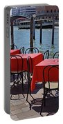Empty Canal Side Tables Awaiting Hungry Customers In Venice, Italy  Portable Battery Charger