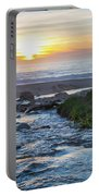 End Of The Road - Creek Runs Into Pacific Ocean At Big Sur Portable Battery Charger