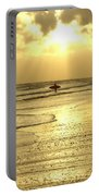 Enjoying The Beach At Sunset Portable Battery Charger