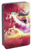 Epic Space Sloth Riding On Unicorn Portable Battery Charger