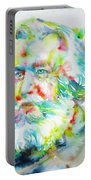 Ernst Haeckel - Watercolor Portrait Portable Battery Charger