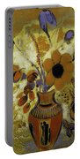 Etrusian Vase With Flowers Portable Battery Charger