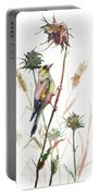 European Goldfinch In The Field Portable Battery Charger