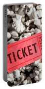 Event Ticket Lying On Pile Of Popcorn Portable Battery Charger