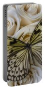 Exotic Butterfly On White Roses Portable Battery Charger