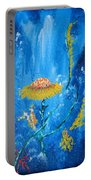 Exotic Colorful Flowers Abstract Composition Portable Battery Charger