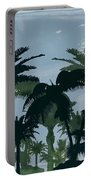 Exotic Palm Trees Silhouettes Water Color Portable Battery Charger