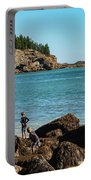 Exploring Rocks At Sand Beach Portable Battery Charger