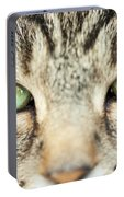 Extreme Close Up Tabby Cat Portable Battery Charger