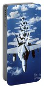 Fa-18c Hornet Aircraft Fly In Formation Portable Battery Charger