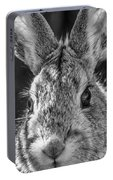 Face Of A Rabbit In Black And White Portable Battery Charger