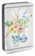 Faded Glory Chinoiserie - Floral Still Life 2 Blush Gold Cream Portable Battery Charger