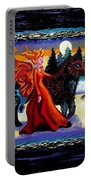 Faerie And Wolf Portable Battery Charger by Genevieve Esson