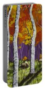 Fall Birch Trees Painting Portable Battery Charger