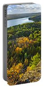 Fall Forest And Lake Top View Portable Battery Charger