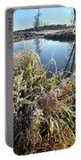 Fall Frost On Grasses Along Nippersink Creek Portable Battery Charger