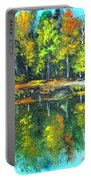 Fall Landscape Acrylic Painting Framed Portable Battery Charger