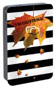 Fall Leaf Love Typography On Black And White Stripes Portable Battery Charger