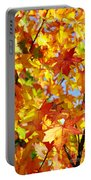 Fall Leaves Background Portable Battery Charger by Carlos Caetano