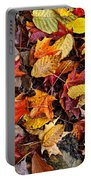 Fall Leaves On Forest Floor Portable Battery Charger