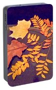 Fall Leaves On Granite Counter Portable Battery Charger