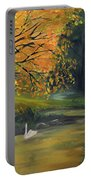 Fall Pond With Swans Portable Battery Charger