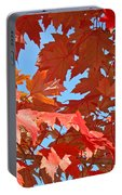 Fall Tree Leaves Red Orange Autumn Leaves Blue Sky Portable Battery Charger