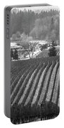 Vineyard In Black And White Portable Battery Charger