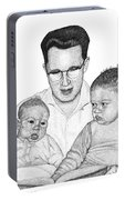 Family In Pointillism Portable Battery Charger
