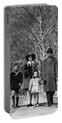 Family Out Walking On A Wintry Day Portable Battery Charger