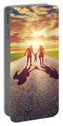 Family Walk On Long Straight Road Towards Sunset Sun Portable Battery Charger