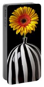 Fancy Daisy In Stripped Vase  Portable Battery Charger