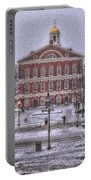 Faneuil Hall Snow Portable Battery Charger by Joann Vitali