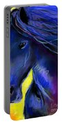 Fantasy Friesian Horse Painting Print Portable Battery Charger