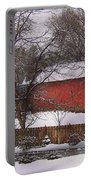 Farm - Barn - Winter In The Country  Portable Battery Charger by Mike Savad